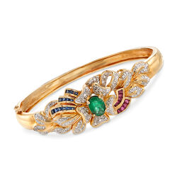 "C. 1980 Vintage 1.95 ct. t.w. Multi-Stone and .85 ct. t.w. Diamond Floral Bangle Bracelet in 14kt Gold. 7"", , default"
