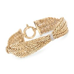 14kt Yellow Gold Braided Wheat Chain Bracelet With Diamond Stations, , default