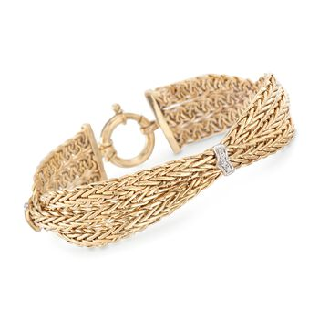 """14kt Yellow Gold Braided Wheat Chain Bracelet With Diamond Stations. 8"""", , default"""