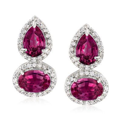 3.90 ct. t.w. Rhodolite Garnet and .30 ct. t.w. White Zircon Drop Earrings in Sterling Silver , , default