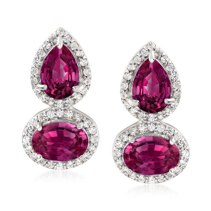 3.90 ct. t.w. Rhodolite Garnet and .30 ct. t.w. White Zircon Drop Earrings in Sterling Silver, , default