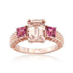 2.20 Carat Morganite and .80 ct. t.w. Pink Tourmaline Ring in 14kt Rose Gold, , default