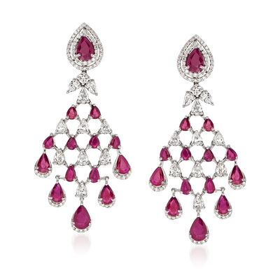 8.00 ct. t.w. Ruby and 3.82 ct. t.w. Diamond Chandelier Earrings in 18kt White Gold, , default