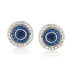 C. 1990 Vintage 3.10 ct. t.w. Sapphire and Diamond Round Earrings in 18kt White Gold, , default