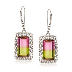 9.50 ct. t.w. Watermelon Quartz Triplet Swirl Drop Earrings in Sterling Silver, , default