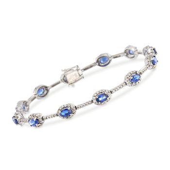 "C. 1990 Vintage 3.00 ct. t.w. Sapphire and 1.15 ct. t.w. Diamond Station Bracelet in 18kt White Gold. 6.75"", , default"