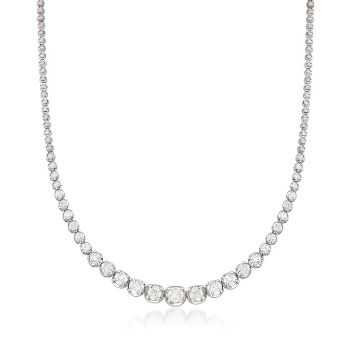 10.00 ct. t.w. Graduated Diamond Tennis Necklace in 14kt White Gold