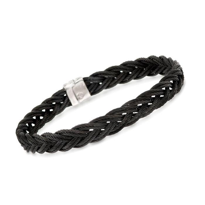 """ALOR Men's Black Stainless Steel Braided Rope Bracelet. 7.75"""", , default"""