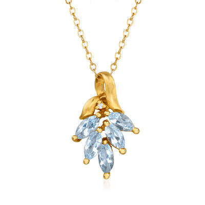 C. 1980 Vintage 1.25 ct. t.w. Aquamarine Leaf Pendant Necklace with Diamond Accent in 14kt Yellow Gold, , default