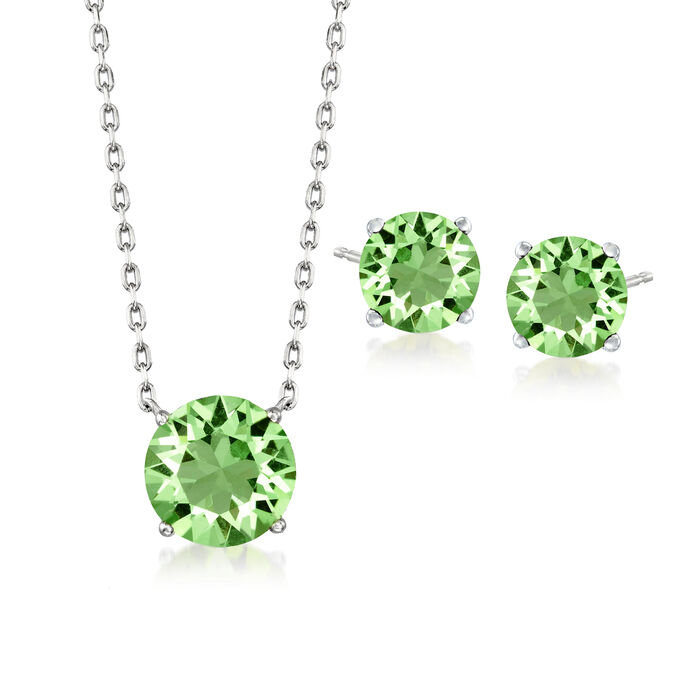 Jewelry Set: Light Green Swarovski Crystal Necklace and Earrings in Sterling Silver. 16""