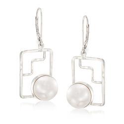 10mm Cultured Button Pearl Geometric Drop Earrings in Sterling Silver, , default