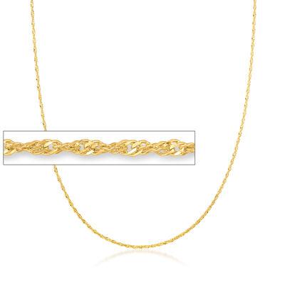 Italian 1.5mm 18kt Gold Over Sterling Adjustable Slider Singapore Chain Necklace