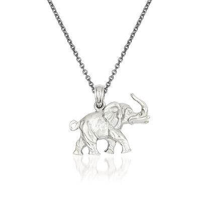 14kt White Gold Elephant Pendant Necklace, , default