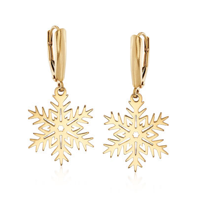 14kt Yellow Gold Snowflake Drop Earrings, , default