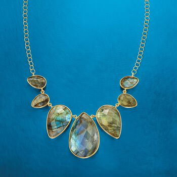 """Labradorite Bib Necklace in 14kt Yellow Gold Over Sterling Silver. 18"""", , default"""