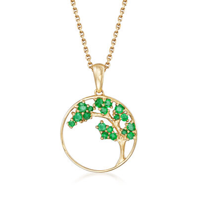 .32 ct. t.w. Emerald Tree Pendant Necklace in 14kt Yellow Gold, , default