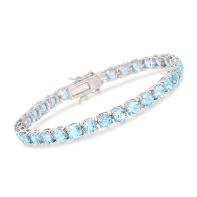 19.20 ct. t.w. Blue Topaz Tennis Bracelet in Sterling Silver, , default