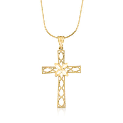 14kt Yellow Gold Diamond-Cut Openwork Cross Pendant Necklace