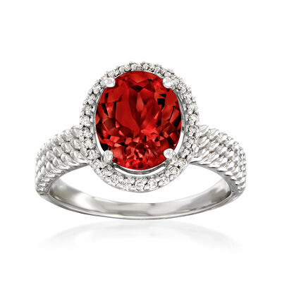 2.70 Carat Garnet and .13 ct. t.w. Diamond Halo Ring in 14kt White Gold
