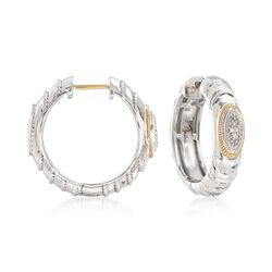 "Andrea Candela ""Eco"" Sterling Silver and 18kt Yellow Gold Hoop Earrings With Diamond Accents. 3/4"", , default"