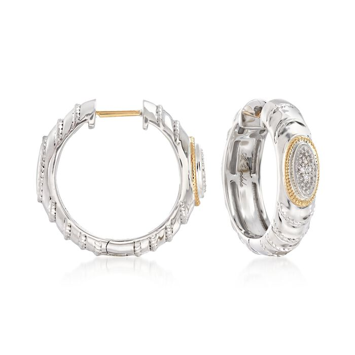 """Andrea Candela """"Eco"""" Sterling Silver and 18kt Yellow Gold Hoop Earrings with Diamond Accents. 3/4"""", , default"""