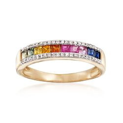 .60 ct. t.w. Multicolored Sapphire Ring With Diamond Accents in 14kt Yellow Gold, , default
