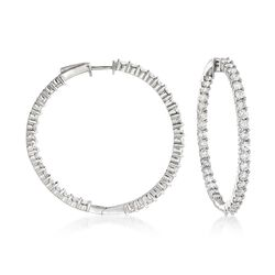 "5.00 ct. t.w. Diamond Inside-Outside Hoop Earrings in 14kt White Gold. 1 1/2"", , default"