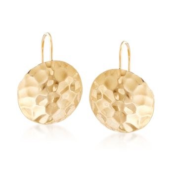 14kt Yellow Gold Hammered Disc Drop Earrings , , default
