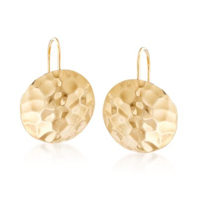 14kt Yellow Gold Hammered Disc Drop Earrings, , default