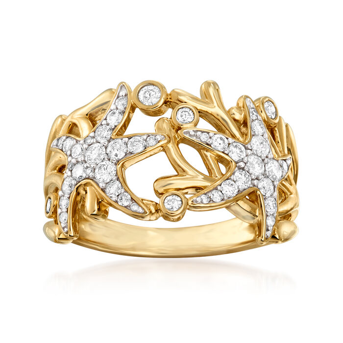 .50 ct. t.w. Diamond Sea Life Ring in 14kt Yellow Gold