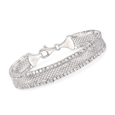 Italian 5.20 ct. t.w. CZ Mesh Bracelet in Sterling Silver, , default
