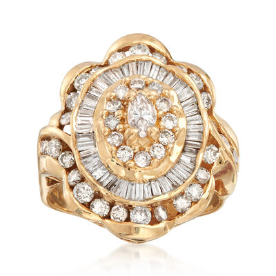 C. 1980 Vintage 2.30 ct. t.w. Diamond Ring in 14kt Yellow Gold, , default