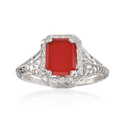 C. 1950 Vintage Carnelian Filigree Ring in 14kt White Gold. Size 5.5, , default