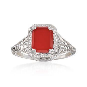 C. 1950 Vintage Carnelian Filigree Ring in 14kt White Gold. Size 5.5, , default