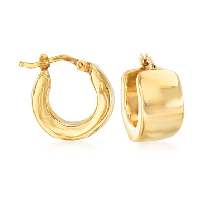 Italian 18kt Yellow Gold Huggie Hoop Earrings , , default