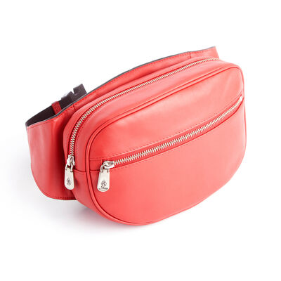 Royce Red Leather Hip and Crossbody Belt Bag