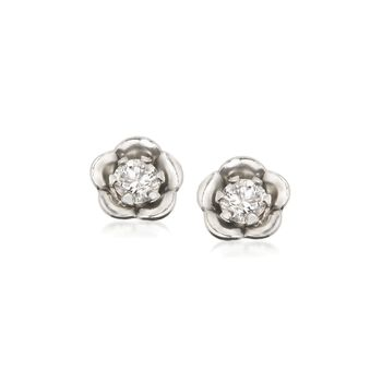Child's .10 ct. t.w. CZ Post Earrings in 14kt White Gold, , default