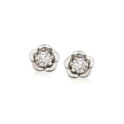 Child's .10 ct. t.w. CZ Post Earrings in 14kt White Gold , , default