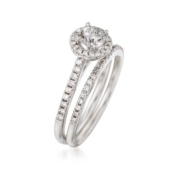 .86 ct. t.w. Diamond Bridal Set: Halo Engagement and Wedding Rings in 14kt White Gold, , default