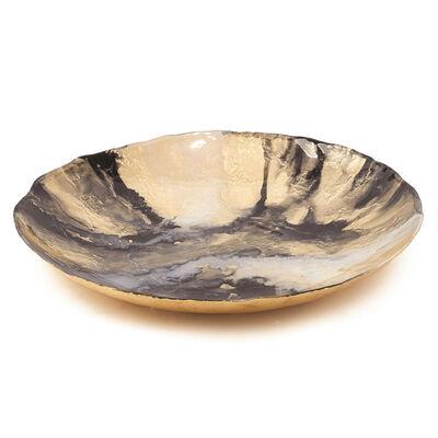 Gold and Black Glass Platter, , default