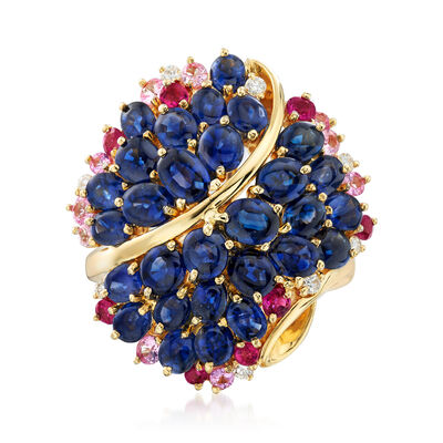C. 1990 Vintage 6.25 ct. t.w. Blue and Pink Sapphires and .12 ct. t.w. Diamond Cluster Ring in 18kt Yellow Gold, , default