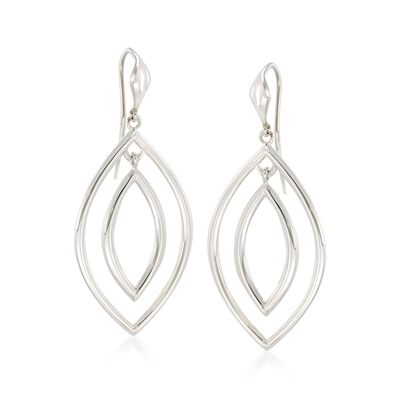 "Zina Sterling Silver ""Contemporary"" Double Teardrop Earrings, , default"