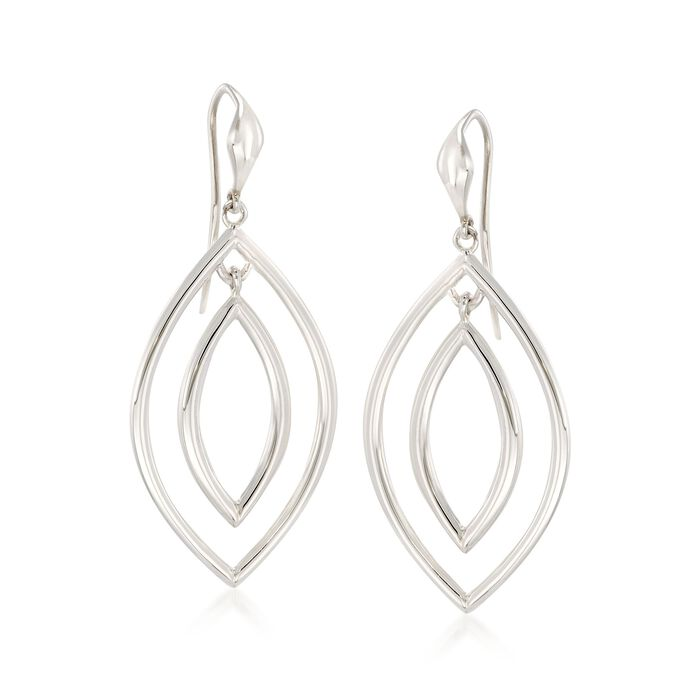 """Zina Sterling Silver """"Contemporary"""" Double Teardrop Earrings"""