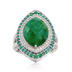 7.10 ct. t.w. Emerald and .27 ct. t.w. Diamond Ring in Sterling Silver, , default