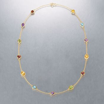 8.40 ct. t.w. Multi-Stone Station Necklace in 18kt Gold Over Sterling, , default