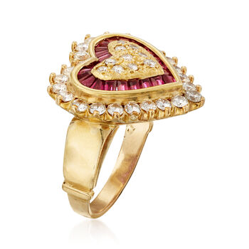 C. 1980 Vintage .75 ct. t.w. Diamond and .50 ct. t.w. Ruby Heart-Shaped Ring in 18kt Yellow Gold. Size 5.5