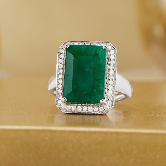 4.40 Carat Emerald and .20 ct. t.w. Diamond Ring in Sterling Silver