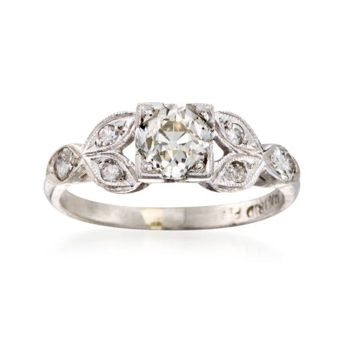 C. 1970 Vintage 1.10 ct. W. Diamond Floral Ring in Platinum. Size 5, , default