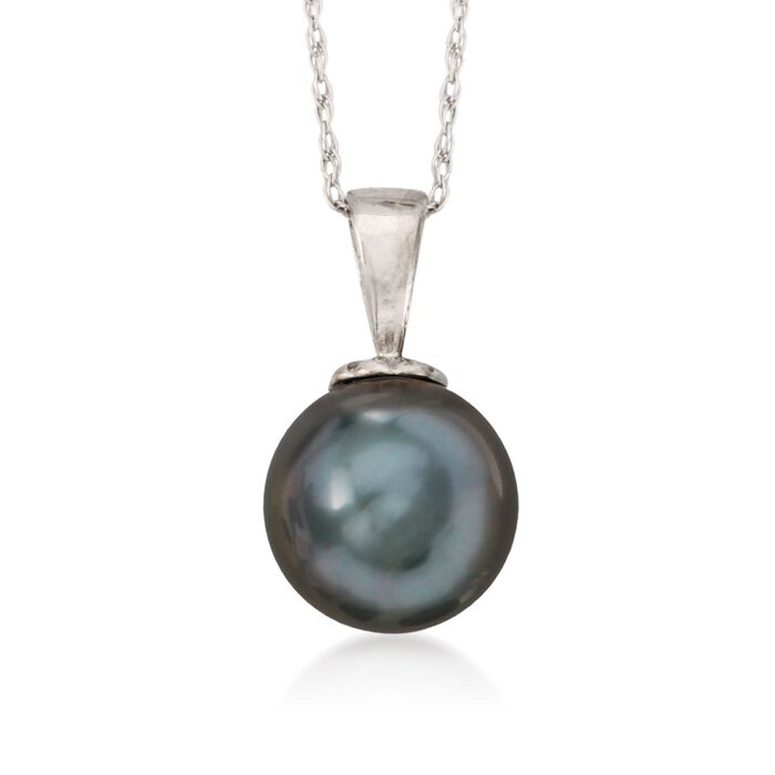 "9-10mm Black Cultured Tahitian Pearl Pendant Necklace in 14kt White Gold. 18"", , default"