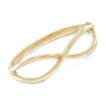 "14kt Yellow Gold Infinity Bangle Bracelet. 7.5"", , default"